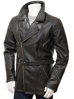 Men's Black Belted Leather Coat: Highweek