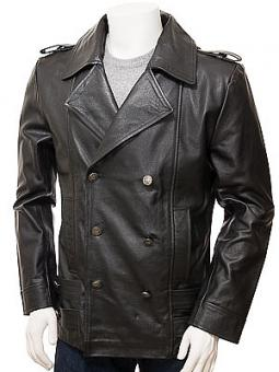 Men's Black Leather Pea Coat: Hingston