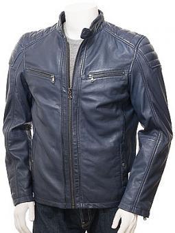 Men's Blue Leather Biker Jacket: Lustleigh