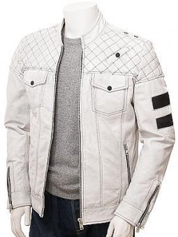 Men's White Leather Biker Jacket: Lynmouth