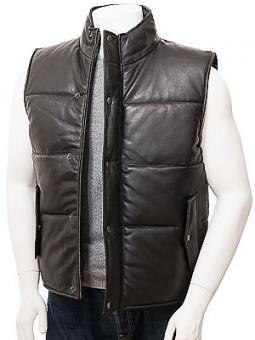 Men's Black Leather Quilted Gilet: Mamhead