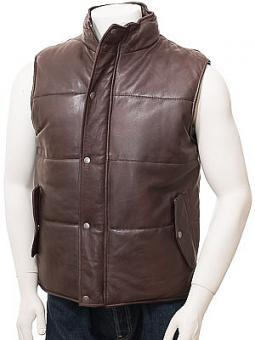 Men's Brown Leather Quilted Gilet: Mamhead