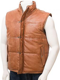 Men's Tan Leather Quilted Gilet: Mamhead