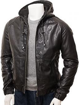 Men's Black Leather Hooded Jacket: Manaton