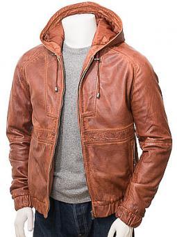Men's Tan Leather Hooded Jacket: Manaton