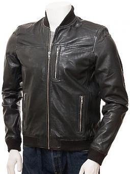 Men's Black Leather Bomber Jacket: Mariansleigh
