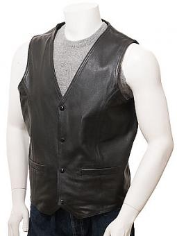 Men's Black Leather Waistcoat: Meldon
