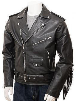Men's Black Fringe Leather Jacket: Merrivale