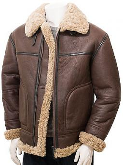 Men's Brown Sheepskin Flying Jacket: Mullacott