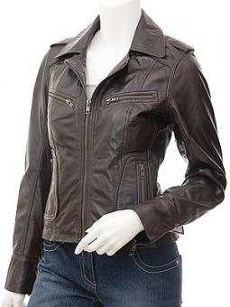 Ladies Leather Biker Jacket in Brown: Niagara