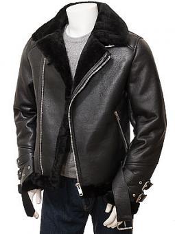 Men's Black Shearling Biker Jacket: Northleigh