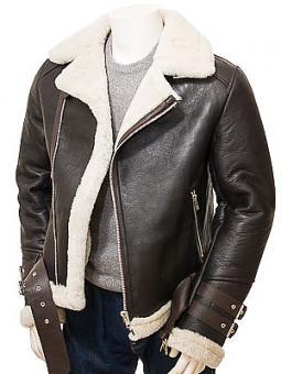 Men's Brown Shearling Biker Jacket: Northleigh