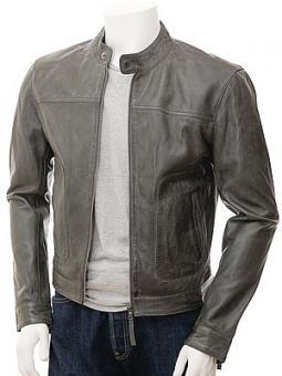 Men's Grey Leather-Biker Jacket: Oldenburg