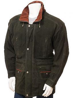 Men's Nubuck Leather Coat in Green: Ostrava