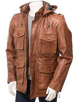 Men's Tan Leather Parka: Pinhoe