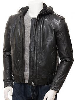 Men's Black Leather Hooded Jacket: Poppleford