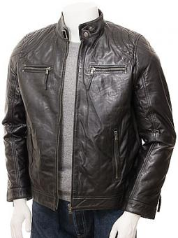 Men's Black Leather Biker Jacket: Putsborough