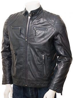 Men's Navy Leather Biker Jacket: Putsborough