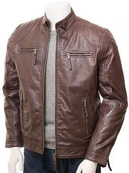 Men's Brown Leather Biker Jacket: Putsborough