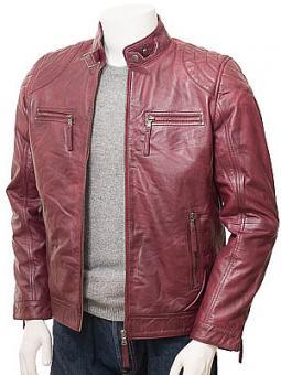 Men's Burgundy Leather Biker Jacket: Putsborough