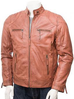 Men's Tan Leather Biker Jacket: Putsborough