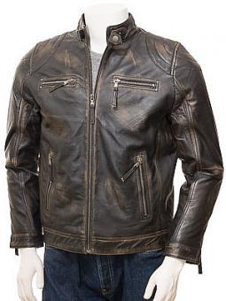 Men's Vintage Leather Biker Jacket: Putsborough