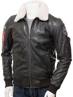Men's Black Leather Flying Jacket: Pyworthy