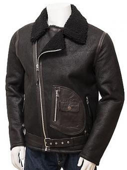 Men's Black Sheepskin Biker Jacket: Quay