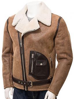 Men's Brown Sheepskin Biker Jacket: Quay