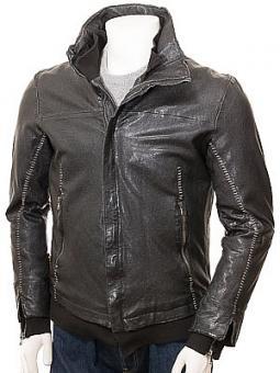 Men's Black Leather Jacket: Rackenford