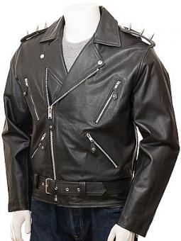 Men's Black Leather Biker Jacket: Rewe