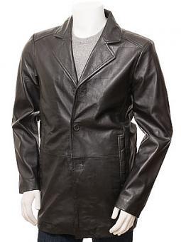 Men's Black Leather Coat: Roborough