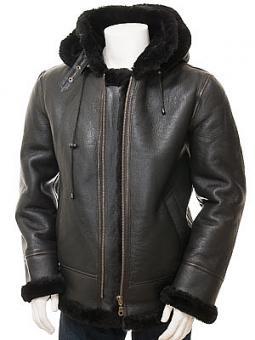Men's Black Sheepskin Aviator Jacket: Salcombe