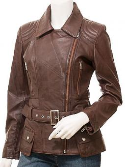 Women's Brown Leather Leather Jacket: Simi