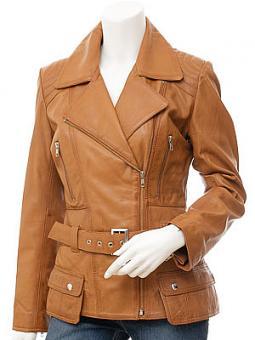 Women's Tan Leather Biker Jacket: Simi