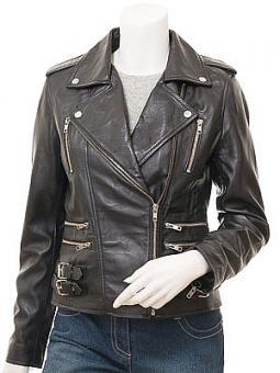 Women's Black Leather Biker Jacket: Toronto