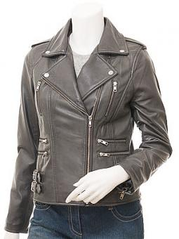 Ladies Grey Leather Biker Jacket: Toronto