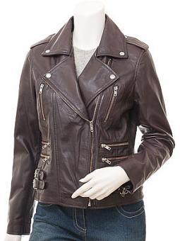 Ladies Purple Leather Biker Jacket: Toronto