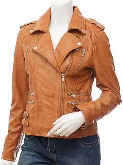 Ladies Tan Leather Biker Jacket: Toronto