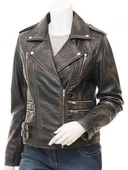 Ladies Vintage Leather Biker Jacket: Toronto
