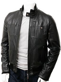 Men's Leather Bomber Jacket in Black: Bristol